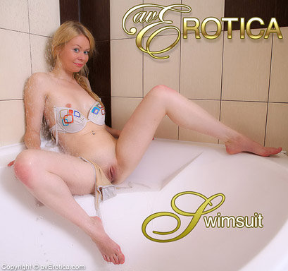 Young and sexy blonde in white bra loves to play with her kitty in the bath