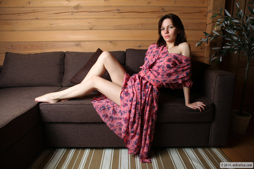 Gorgeous Tinka gets rude on the couch in white undies and floral dress