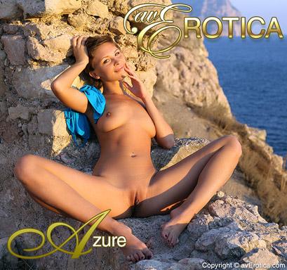 Sweet Cecelia posing naked on the rocks